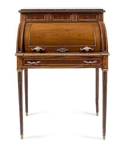 * A Louis XVI Style Gilt Bronze Mounted Fruitwood Bureau a Cylindre
