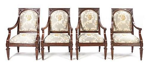 A Set of Four Louis XVI Provincial Style Fauteuils
