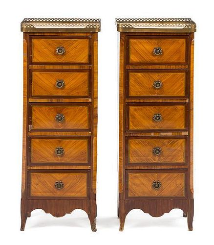 A Pair of Transitional Style Gilt Bronze Mounted Tall Chests of Drawers Height 36 x width 14 x depth 9 inches.