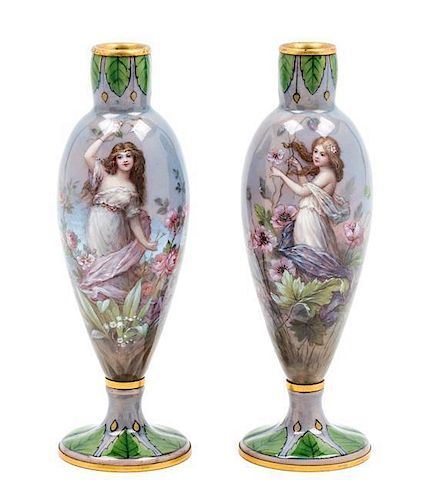 A Pair of French Enameled Copper Vases Height 6 inches.