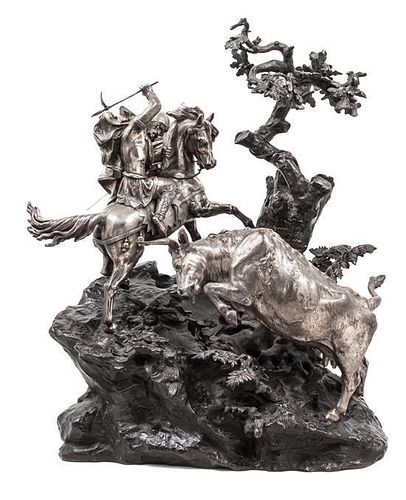 A Continental Patinated and Silvered Bronze Figural Group, (Likely French, Late 19th/Early 20th Century), Soldier and Bull