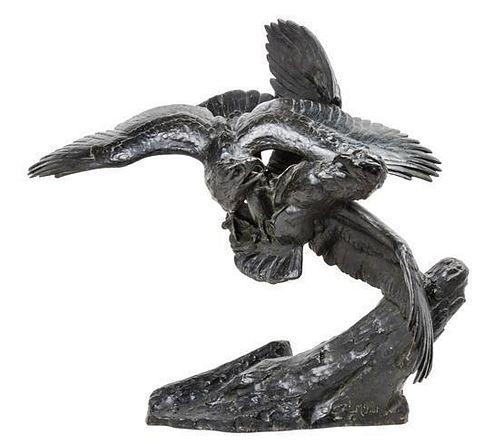 Maximilien Louis Fiot, (French, 1886-1953), Combat d'Aigles