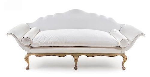 * A Venetian Painted Sofa Height 36 3/4 x width 85 1/8 x depth 28 1/2 inches.