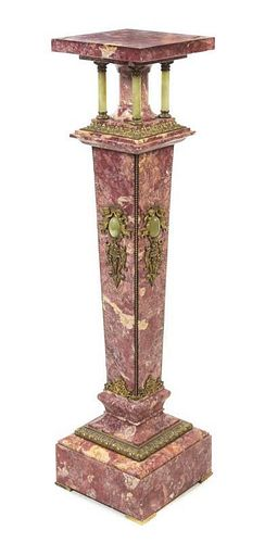 * A Continental Gilt Metal Mounted Marble and Onyx Pedestal