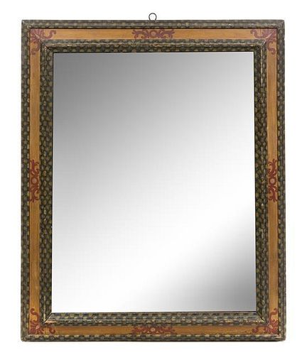 An Italian Style Painted Mirror Height 45 x width 37 1/2 inches.