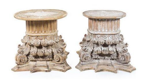 * A Pair of Custom Cerused Wood Tables Height 29 1/4 inches.