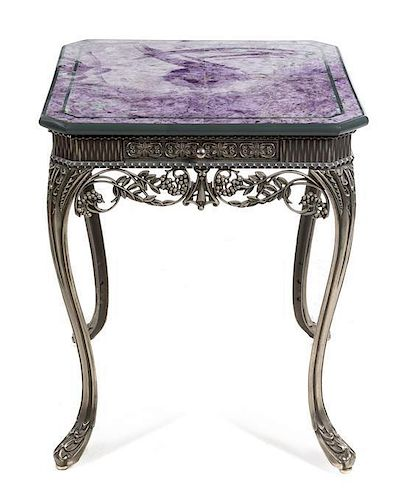 * An Art Deco Style Lapis Veneered Silvered Metal Side Table Height 25 3/4 x width 22 x depth 22 inches.