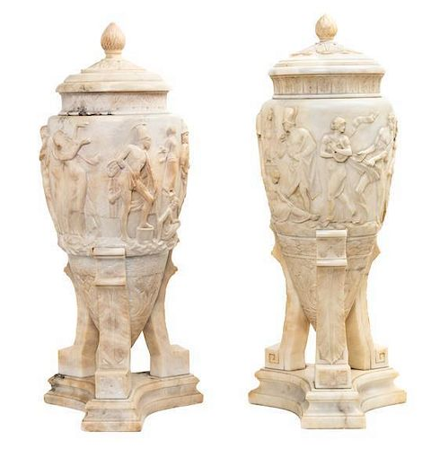 A Pair of Italian Neoclassical Marble Urns Height 28 inches.