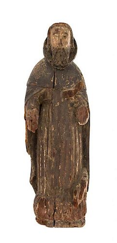 A Carved Wood Figure of a Saint Height 28 3/4 inches.