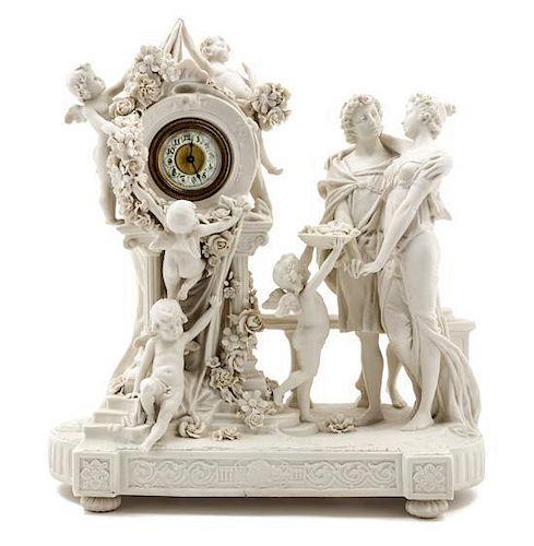 * An Austrian Bisque Porcelain Figural Mantel Clock Height 14 1/2 x width 13 1/4 inches.