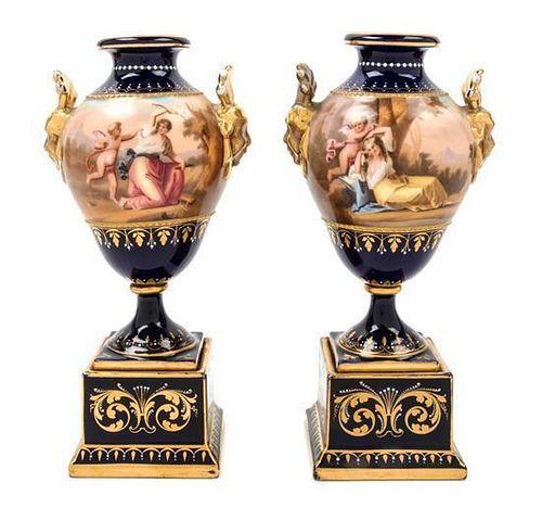 * A Pair of Vienna Porcelain Urns
