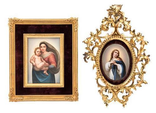 * Two German Porcelain Plaques First height 7 x width 5 inches.