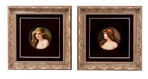 * Two German Porcelain Plaques Diameter of each 6 inches.