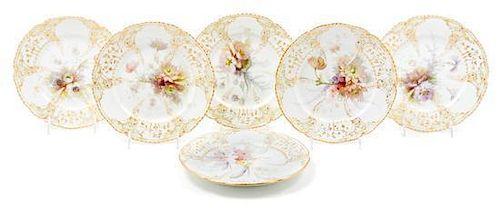 * A Set of Six Berlin (K.P.M.) Porcelain Plates Diameter 9 1/8 inches.