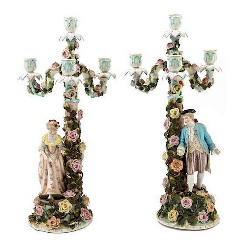 * A Pair of Sitzendorf Porcelain Figural Candelabra Height 20 1/2 inches.