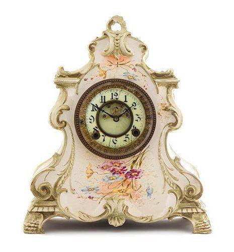 A Royal Bonn Style Porcelain Mantel Clock Height 14 1/2 inches.