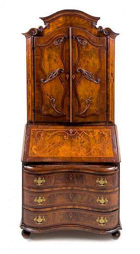 A German or Austrian Burl Walnut and Marquetry Secretary Bookcase Height 88 1/2 x width 40 5/8 x depth 21 inches.