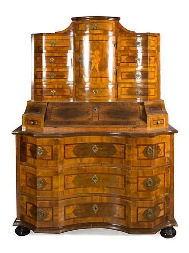 A German Parquetry Secretary Desk Height 75 x width 53 5/8 x depth 26 5/8 inches.
