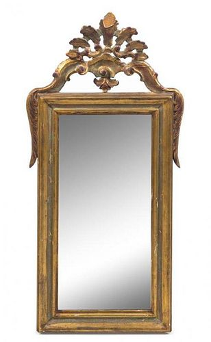 A Continental Giltwood Mirror Height 44 5/8 x width 22 1/4 inches.