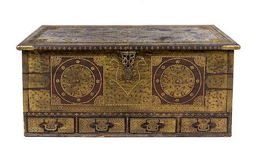 A Brass Decorated Blanket Chest Height 25 1/4 x width 56 x depth 24 1/2 inches.