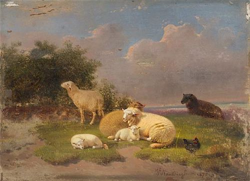 * Jacob van Dieghem and Artist Unknown, (Dutch, 19th Century), Landscape with Sheep and Fowl, 1875 and Landscape with Sheep (