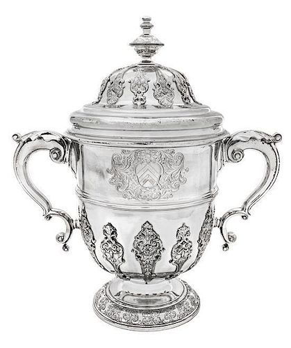 * A George II Silver Twin-Handled Cup and Cover, Edward Vincent, London, Likely 1735, the domed cover having a knopped finial