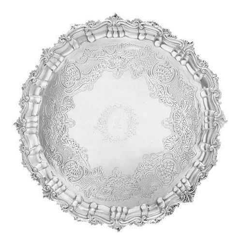 An Irish George III Silver Salver, Jas. Le Bass for Alderman West, Dublin, 1813, the undulating border worked to show rocaill