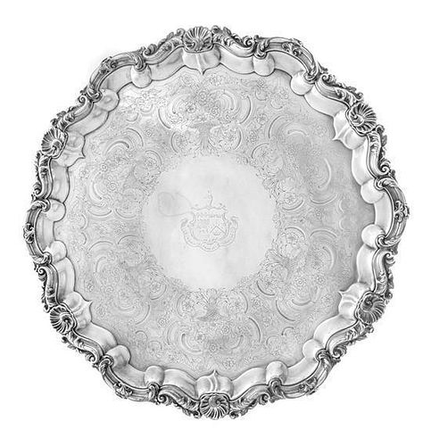 * An English Silver-Plate Salver, T & J Creswick, Sheffield, 19th Century, the rim worked to show rocaille and C-scroll motif