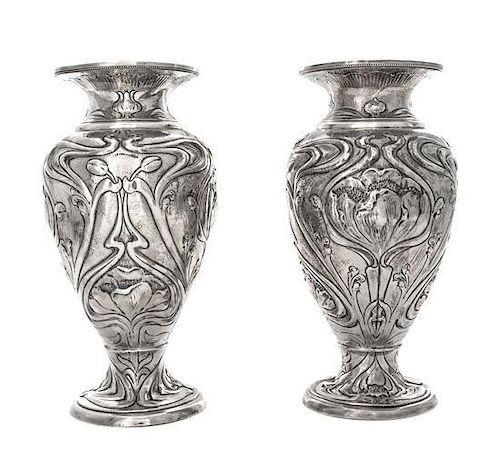* A Pair of Edwardian Silver Vases, Elkington & Co., Birmingham, 1903, each of baluster form in the Art Nouveau taste, worked