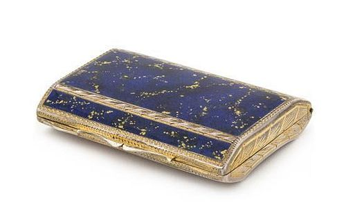 * A Continental Enameled Silver Snuff Box, , the lid worked with faux lapis enameled decoration, the underside chased with fl