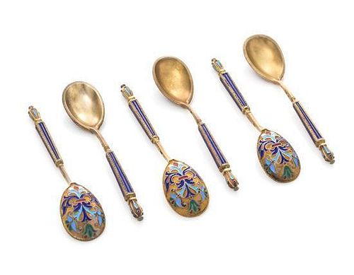 * A Set of Six Russian Silver-Gilt and Enamel Demitasse Spoons, Mark of Mikhail Grachev with Imperial Warrant, St. Petersburg