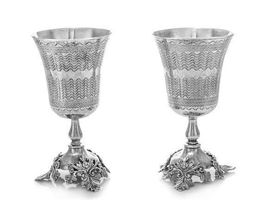 * A Pair of Ottoman Empire Silver Chalices, Reign of Abdulhamid II, Late 19th/Early 20th Century, the bell form cups having e