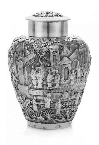 * A Chinese Export Silver Tea Caddy, Hung Chong, Canton, Late 19th/Early 20th Century, of urn form, worked to show figures in
