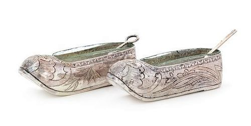 * A Pair of Chinese Export Silver Salts, Maker's Mark SW, 19th Century, each in the form of a shoe engraved to show bamboo br