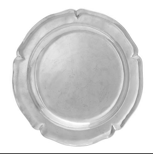 * A Mexican Silver Tray, Alfredo Ortega and Sons, Mexico City, of circular form, having a scalloped rim.