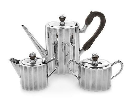* A Mexican Silver Three-Piece Tea Set, Maker's Mark R.J., Second Half 20th Century, comprising a teapot, covered sugar and a