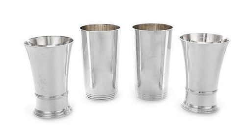 * Two Pairs of American Silver Julep Cups, Tiffany & Co., New York, NY, one pair with a banded base, the other pair having a