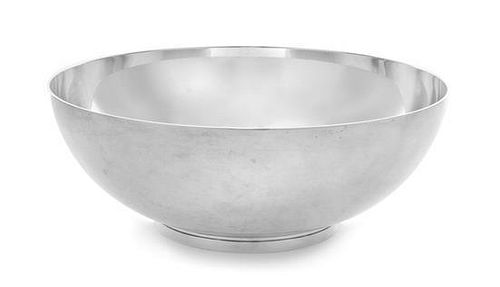 An American Silver Center Bowl, Tiffany & Co., New York, NY, the bowl centered with engraved monogram CDC, raised on a circul