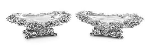 * A Pair of American Silver Bowls, Tiffany & Co., New York, NY, each of oval form, the downturned border worked to show grape