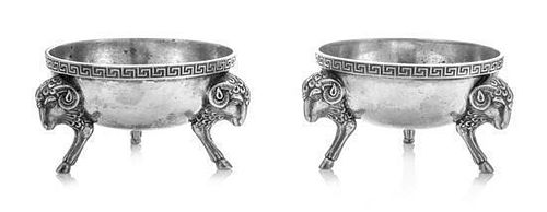 * A Pair of American Silver Salts, Tiffany & Co., New York, NY, Mid-19th Century, each having a Greek meander decorated rim a