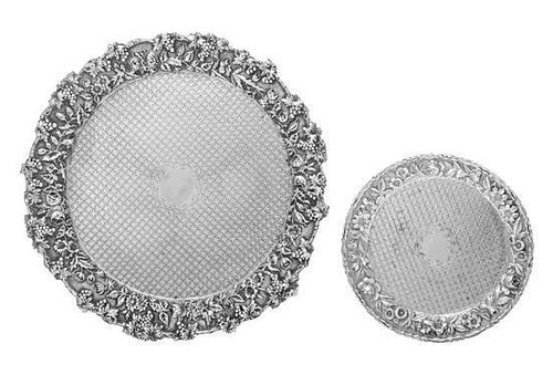 * Two American Silver Salvers, S. Kirk & Son, Baltimore, MD, each of circular form, the rim worked to show grape clusters and
