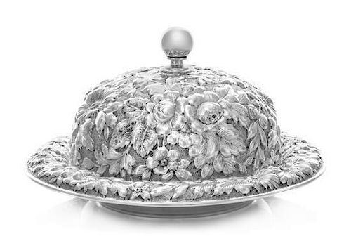 * An American Silver Covered Butter Dish, Black, Starr & Frost, New York, NY, the knopped finial surmounting a repousse flora