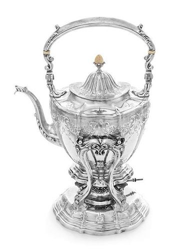 An American Silver Kettle on Lampstand, Wiilliam B. Durgin for Gorham Mfg. Co., Providence, RI, having a blossom-form finial