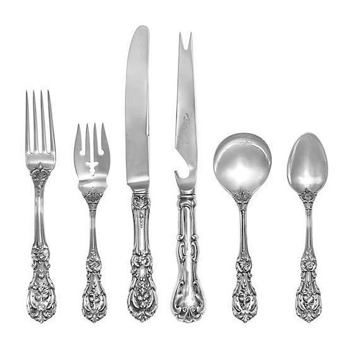 An American Silver Flatware Service, Reed & Barton, Taunton, MA, 20th Century, Francis I pattern, comprising: 12 dinner knive