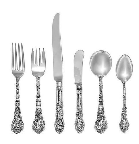 * An American Silver Flatware Service, Gorham Mfg. Co., Providence, RI, Versailles pattern, comprising: 12 dinner knives 12 d