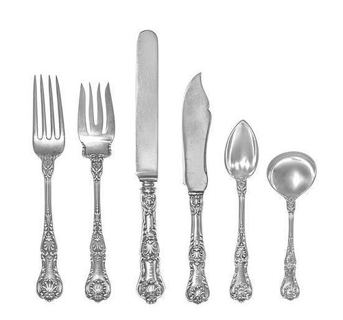 An American Silver Flatware Service, Gorham Mfg. Co., Providence, RI, King George pattern, comprising: 13 luncheon knives 14