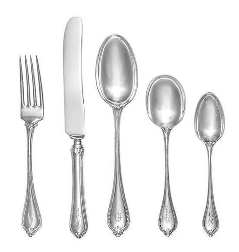 * An American Silver Flatware Service, Towle Silversmiths, Newburyport, MA, Old Newbury Pattern, comprising: 12 dinner knives
