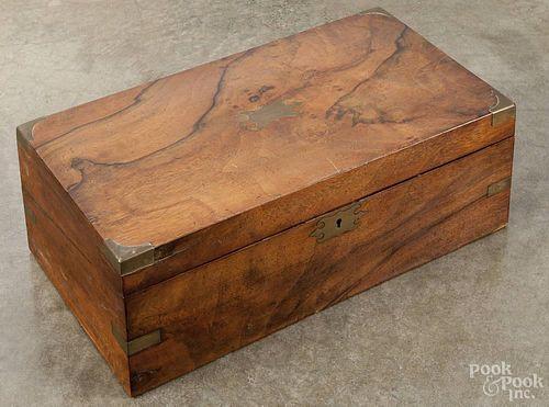 Burled walnut lap desk, late 19th c., brass bound, 6 1/4'' h., 17 3/4'' w.
