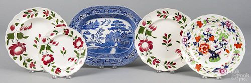Three Adams Rose porcelain plates, 19th c., largest - 10 1/2'' dia., together with a Gaudy Welsh plat