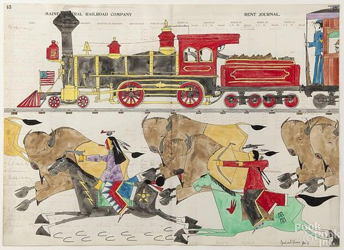 Michael Horse (American 1951-), watercolor and ink on ledger paper with a train and Native American